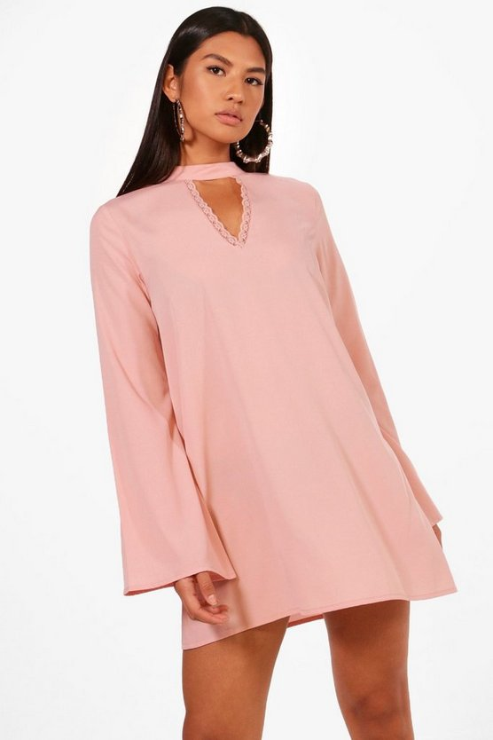 Choker Lace Detail Shift Dress