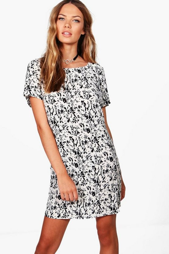 Zoe Monochrome Floral Shift Dress