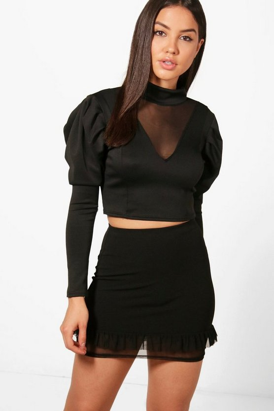 Lisa High Neck Mesh Insert Top