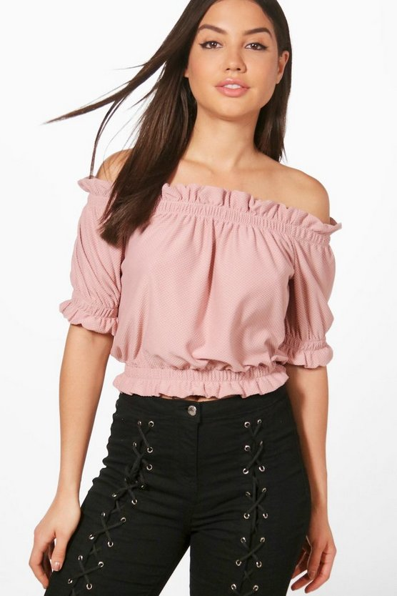 Textured Off The Shoulder Crop