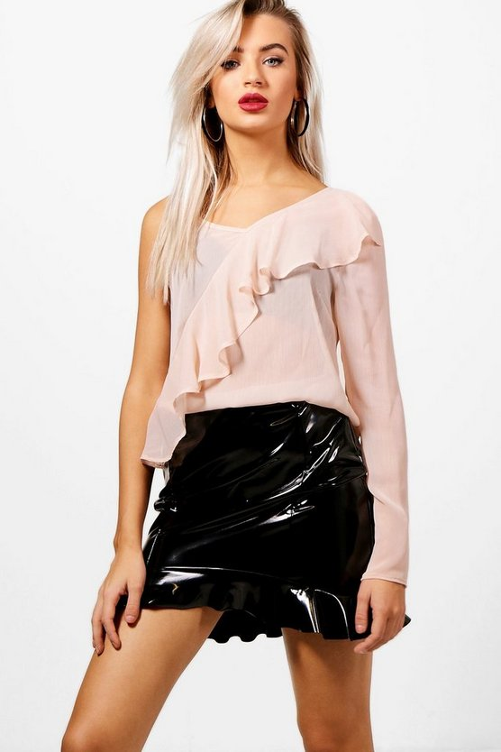 Nethan One Shoulder Ruffle Woven Top