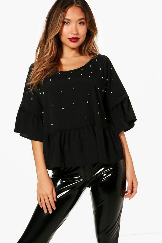 Pearl Embellished Woven Smock Top