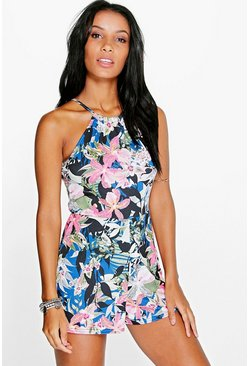 Leila Cut Away Shoulder Floral Playsuit