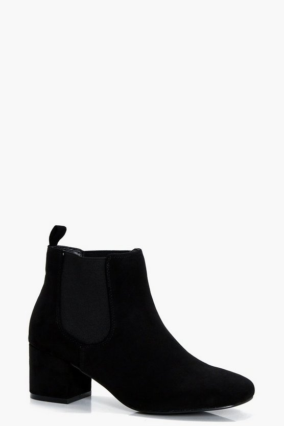 Block Low Heel Chelsea Boots