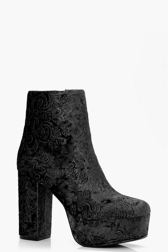 Faye Floral Embroidered Velvet Ankle Boots