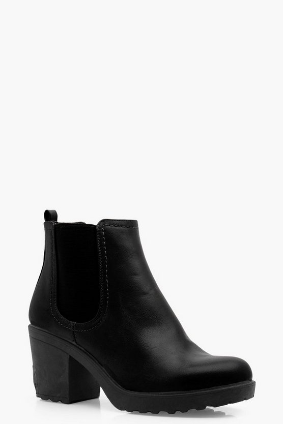 Oana Chunky Cleated Heel Chelsea Boots