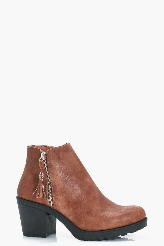 Amy Fringe Trim Block Heel Chelsea Boot