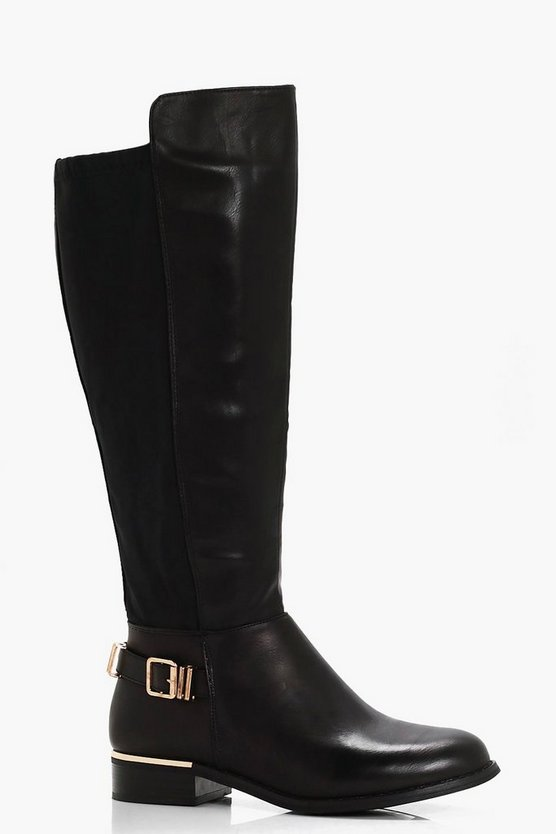 Betsy Buckle Trim Knee High Riding Boot