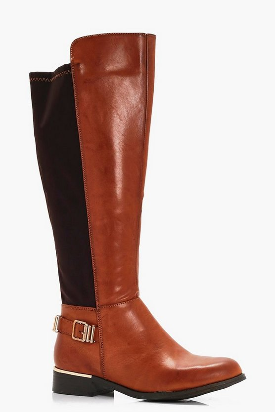 Betsy Buckle Trim Knee High Riding Boots
