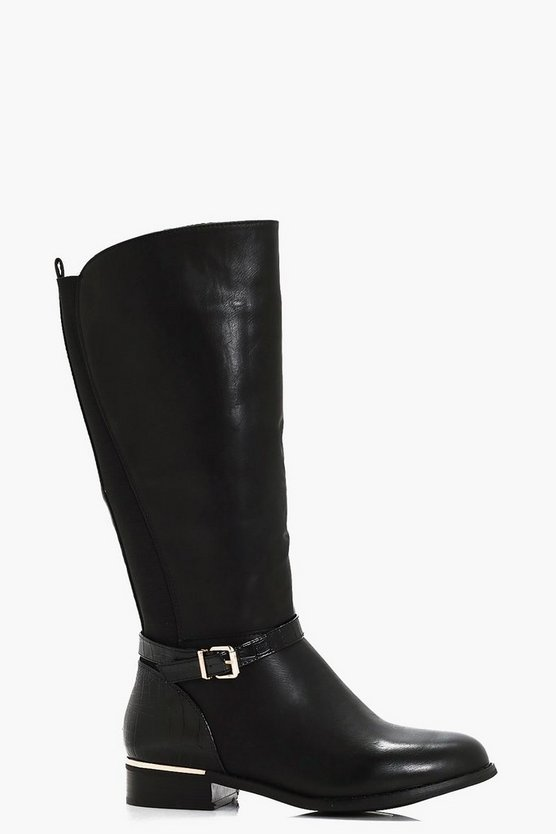 Maya Mix Material Buckle Trim Riding Boot