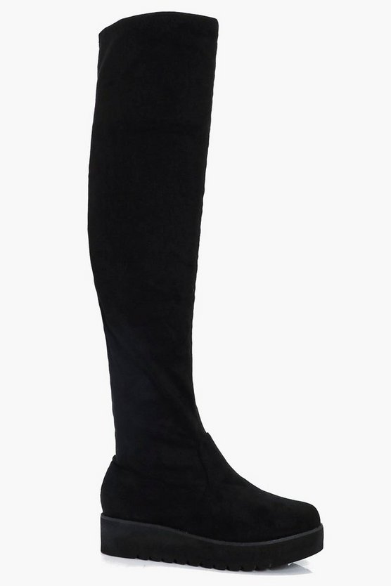 Maisy Cleated Platform Over the Knee Boots