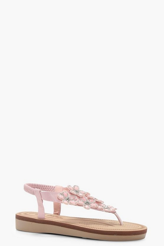 Holly Flower Embellished Footbed Sandal