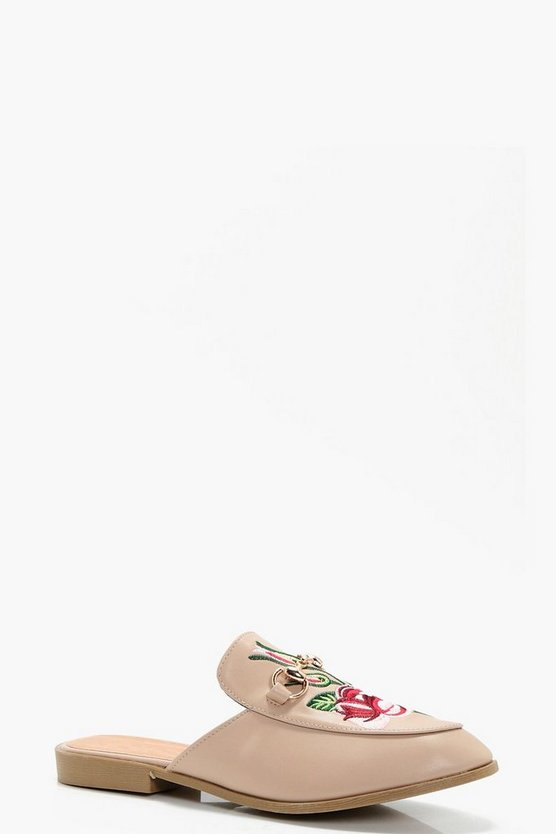 Freya Embroidered Loafer Mule