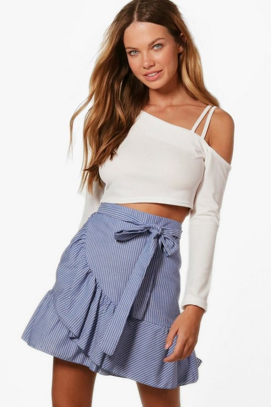 Zena Ruffle Wrap Stripe Mini Skirt