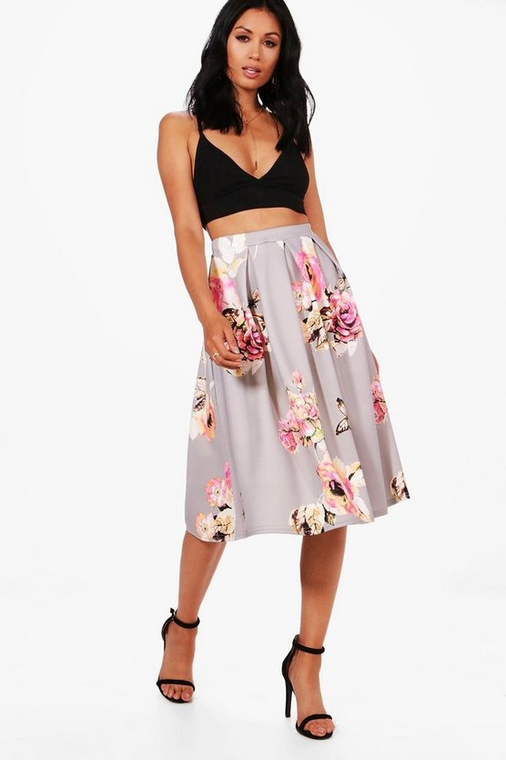 Callie Floral Box Pleat Midi Skirt