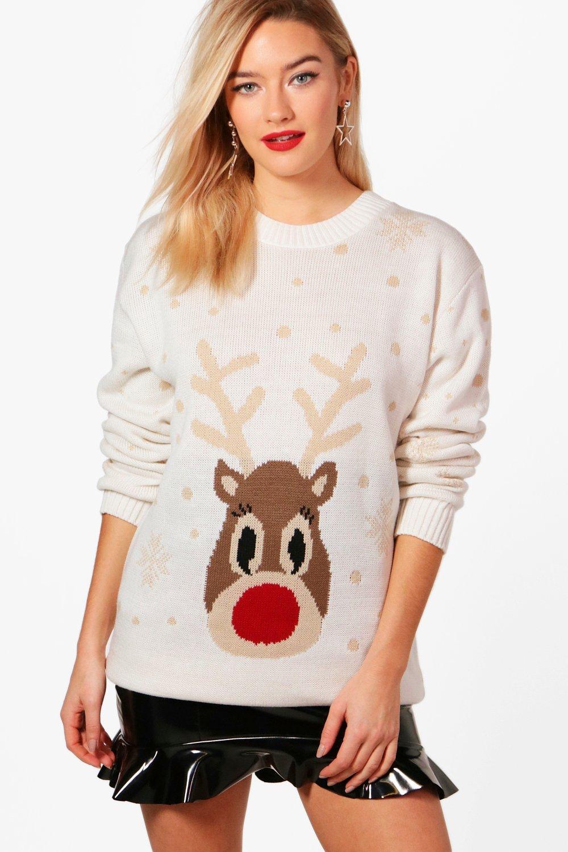 Womens Weihnachtliches Pulloverkleid mit Rentieren und Schneeflocken - cream - S/M, Cream - Boohoo.com
