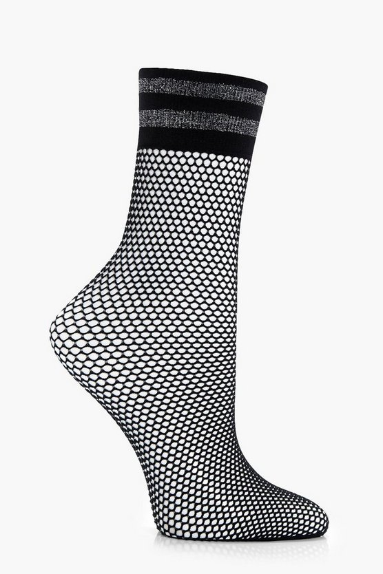 Lacey Glitter Stripe Top Fishnet Socks