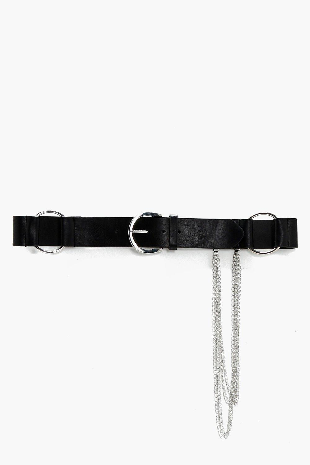 Large O-Ring Chain Detail Belt - black - Zoe Large