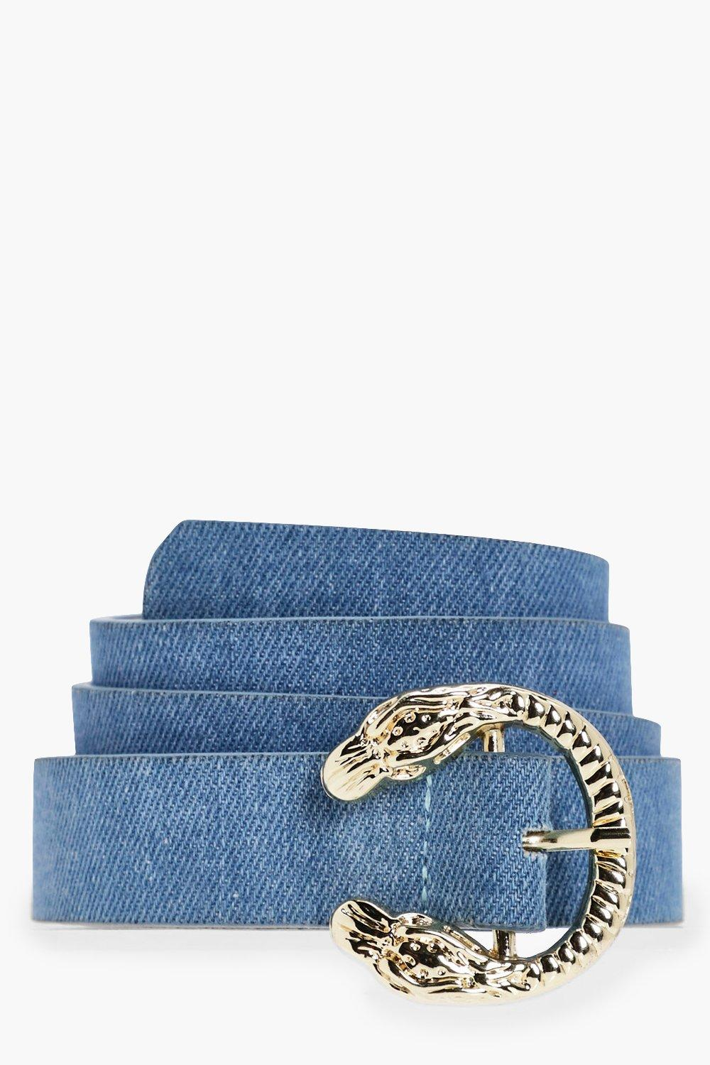 Mini Snake Buckle Detail Denim Belt - blue - Holly