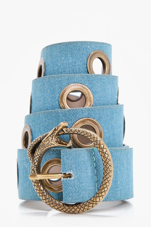 Snake Buckle Denim Boyfriend Belt - blue - Jessica
