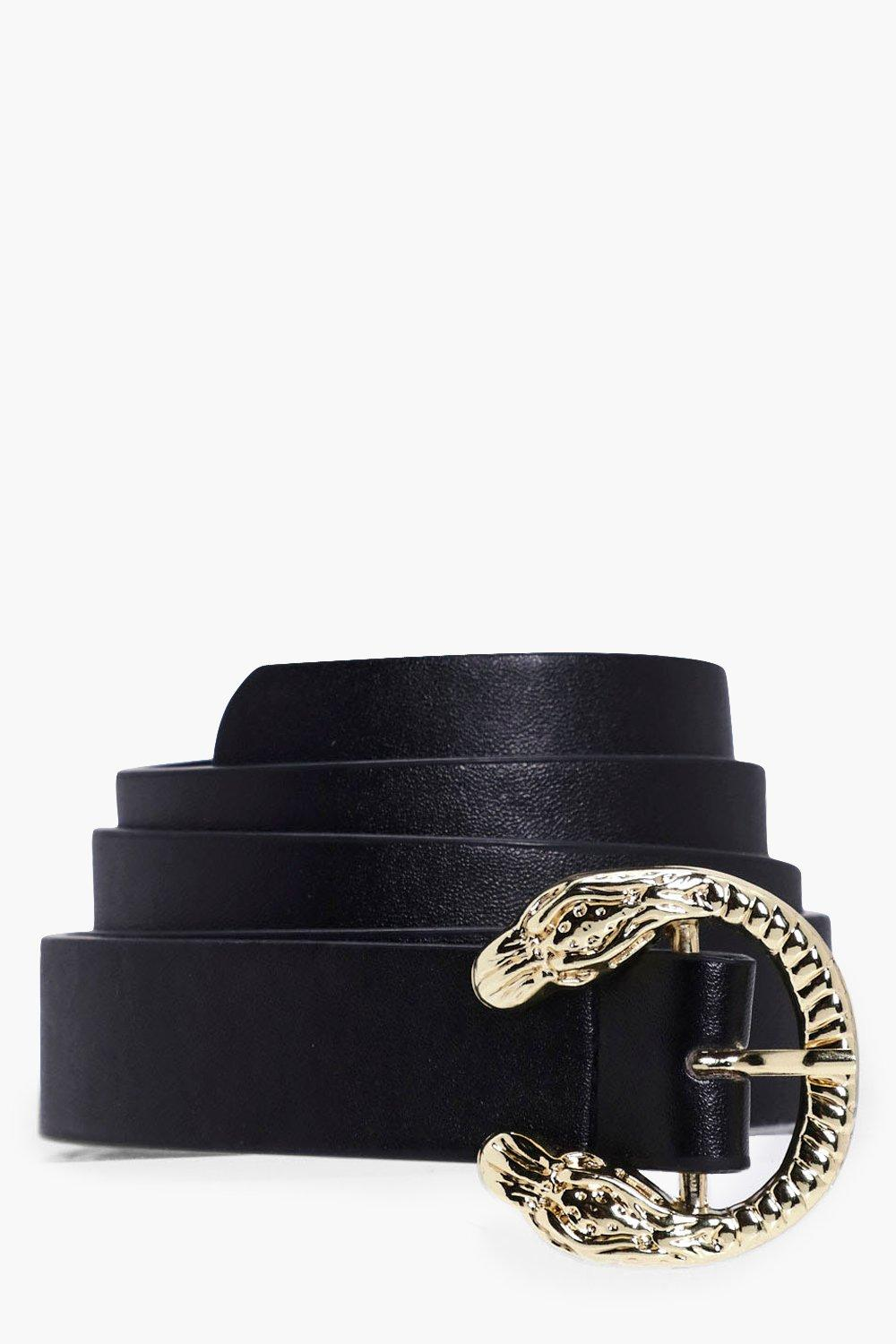 Snake Buckle Boyfriend Belt - black - Lexi Snake B