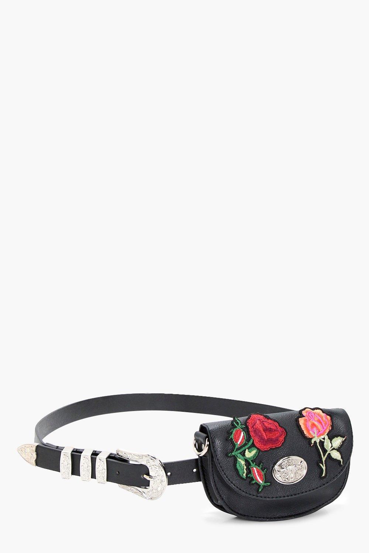 Embroidered Western Bag Belt - black - Ella Embroi