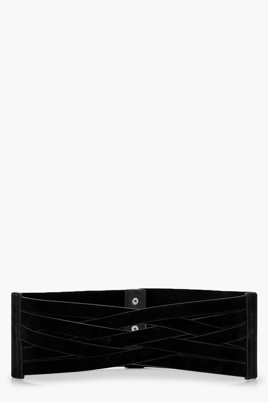 Multi Strap Cut Out Waist Belt - black - Amy Multi