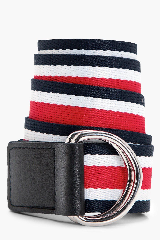 Multi Stripe Ring Fasten Belt - red - Natalie Mult