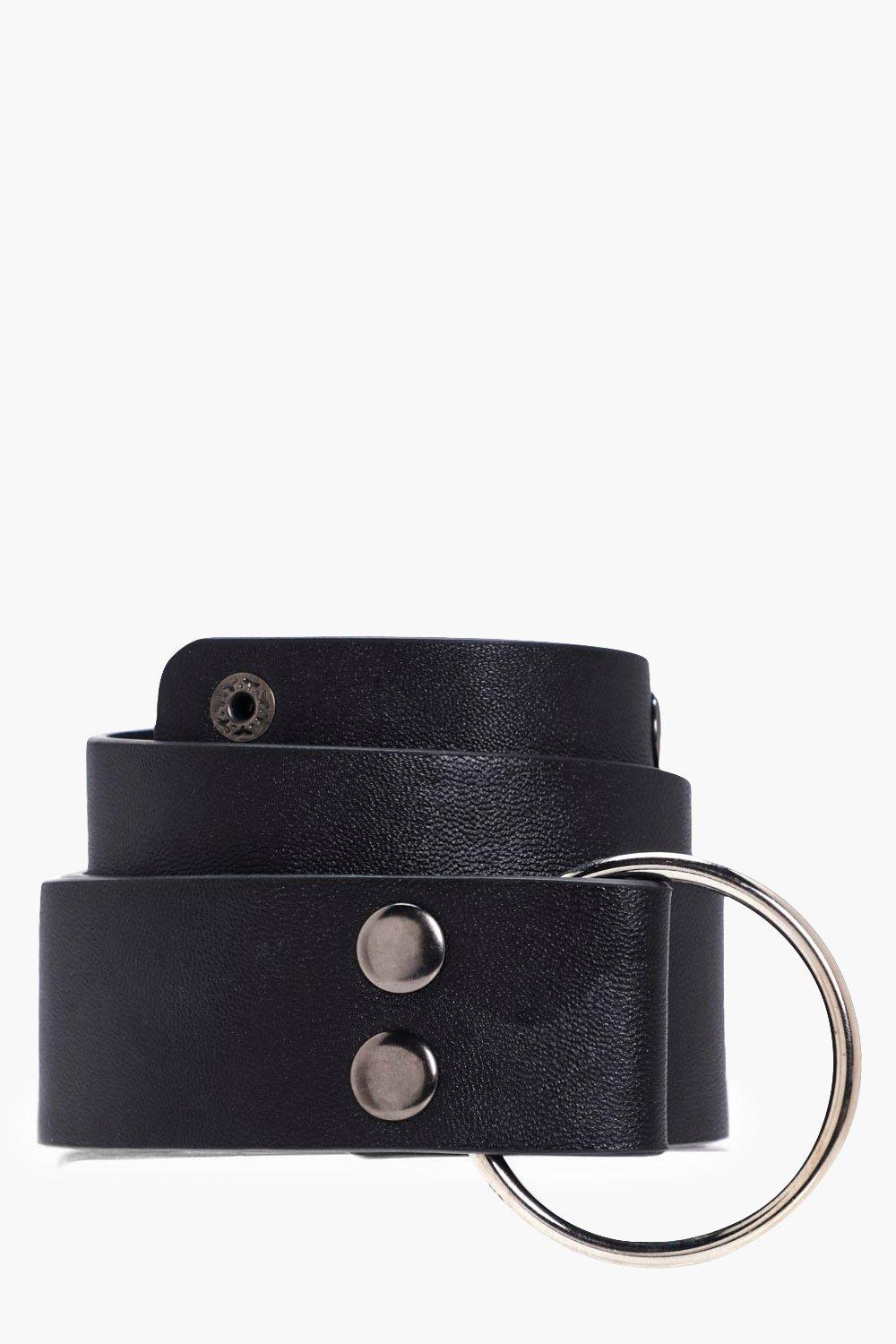 O-Ring Popper Stud Boyfriend Belt - black - Emma O