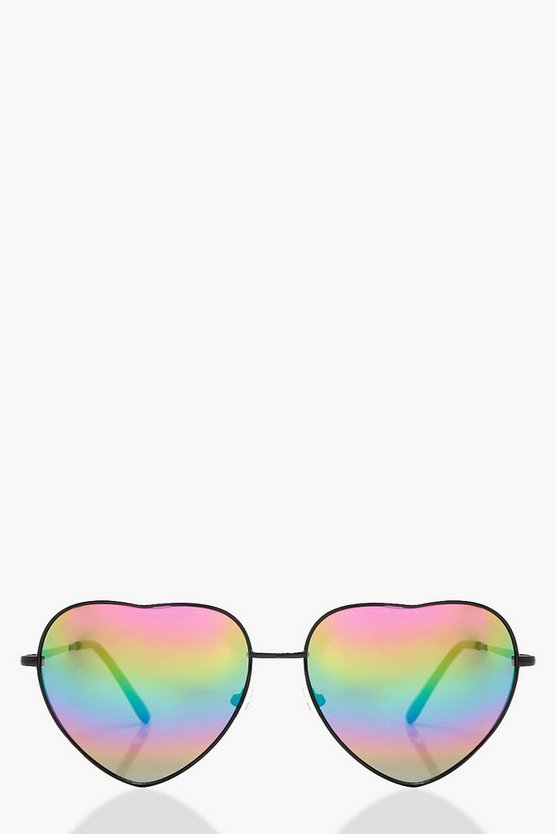 Rosie Heart Shaped Mirrored Lens Sunglasses