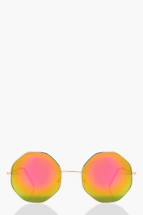 Emma Mirrored Lens Angular Frame Sunglasses