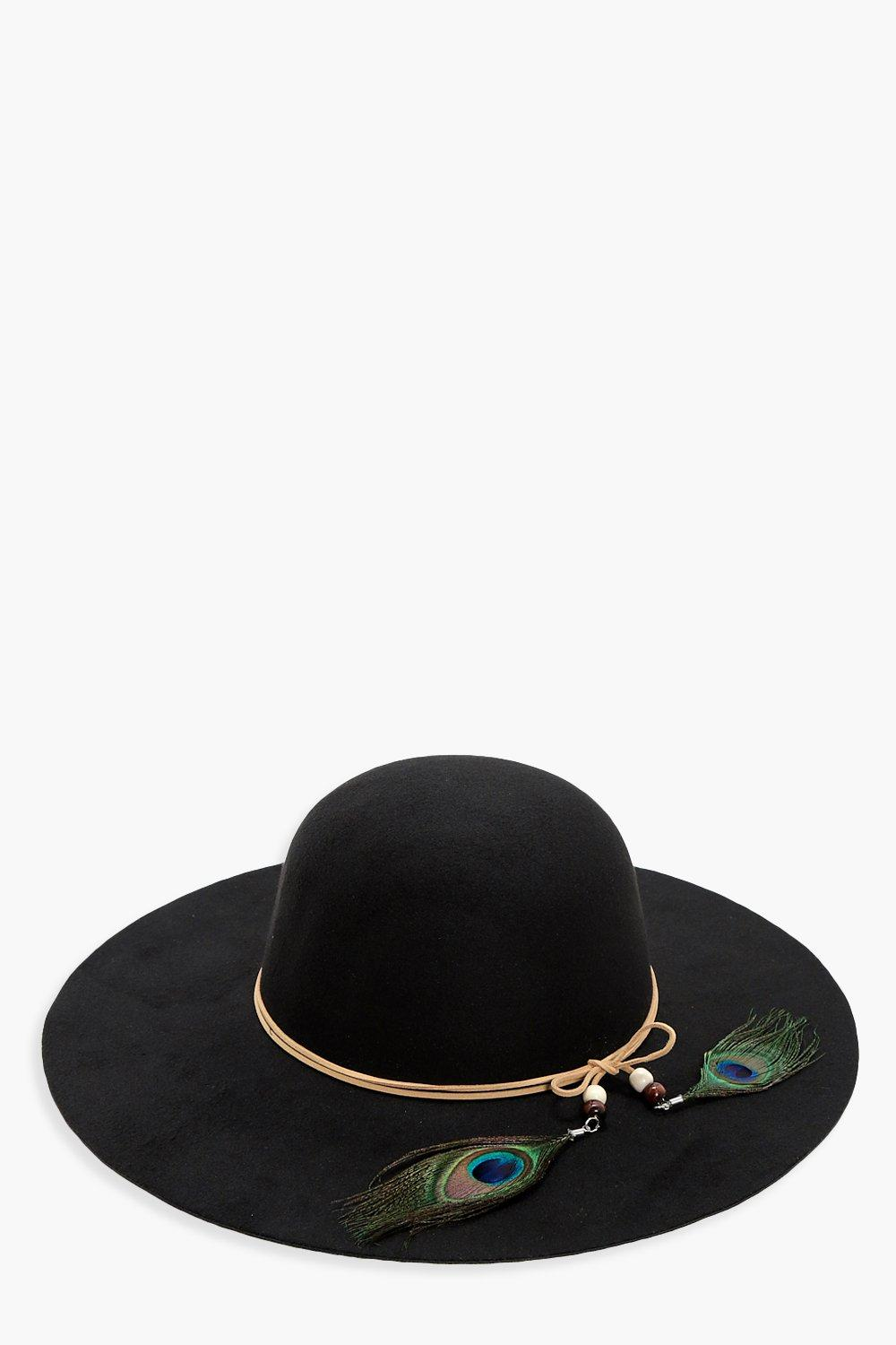 Peacock Trim Floppy Hat - black - Skye Peacock Tri
