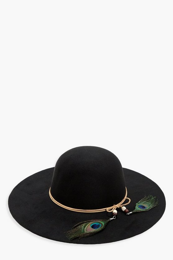 Skye Peacock Trim Floppy Hat