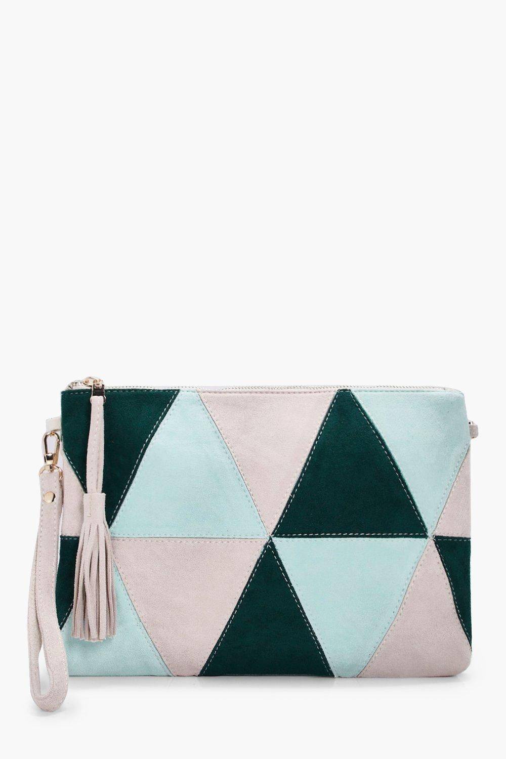 Suedette Patchwork Cross Body - green - Poppy Sued