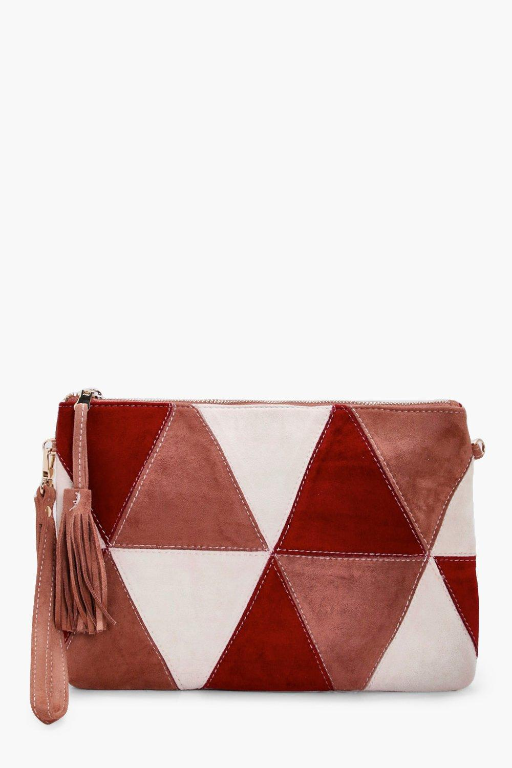 Suedette Patchwork Cross Body - red - Poppy Suedet