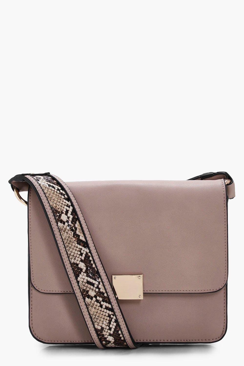 Snake Strap Detail Cross Body Bag - taupe - Emily