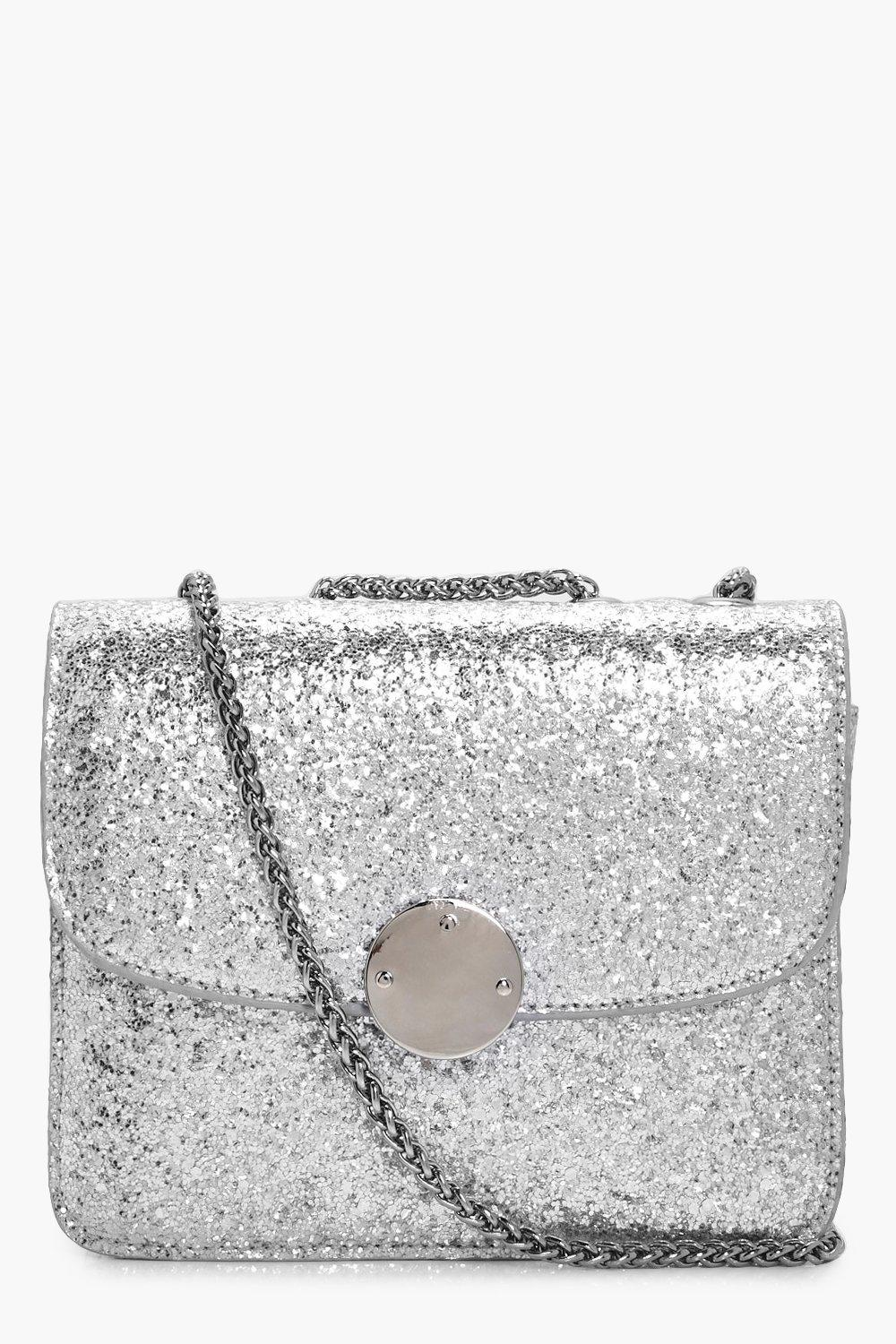 Sequin Metal Clasp Cross Body Bag - silver - Ella