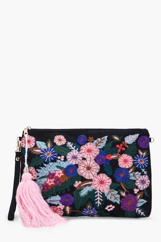 Sophie Floral Embroidery Clutch Bag