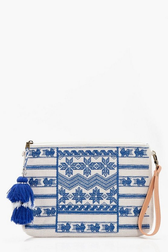 Grace Blue Embroidery Tassel Clutch Bag
