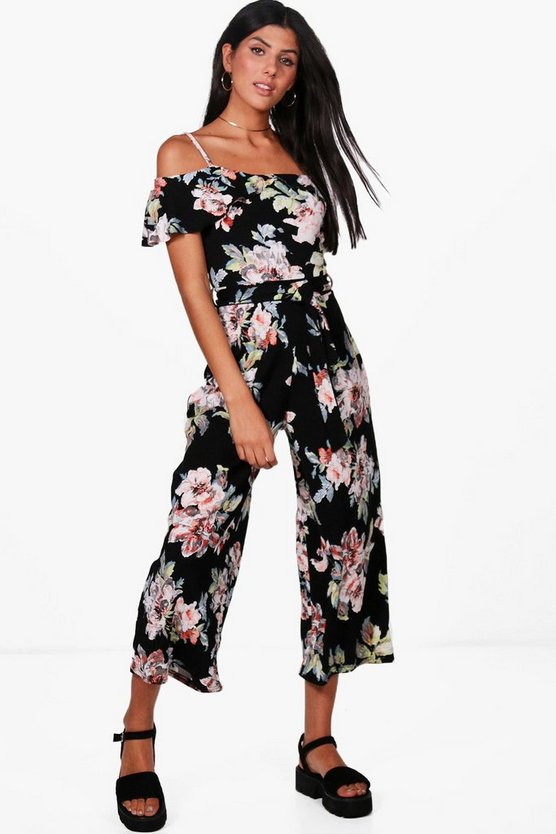 Louise Open Shoulder Floral Jumpsuit