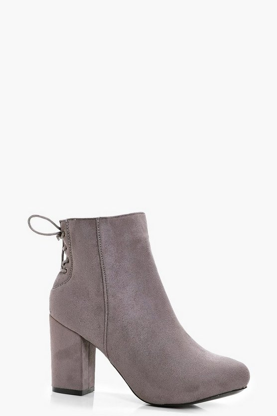 Molly Lace Up Back Heel Shoe Boots