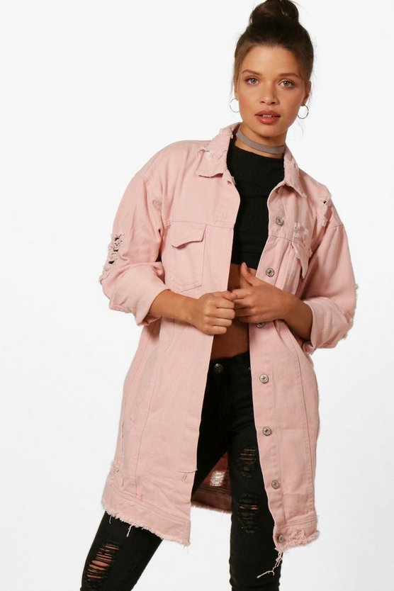 Casey Nude Longline Distressed Denim Jacket