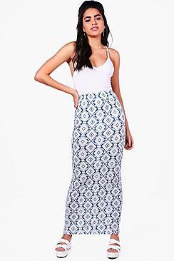 Zoe Maxirock mit Azteken-Print - Boohoo.com