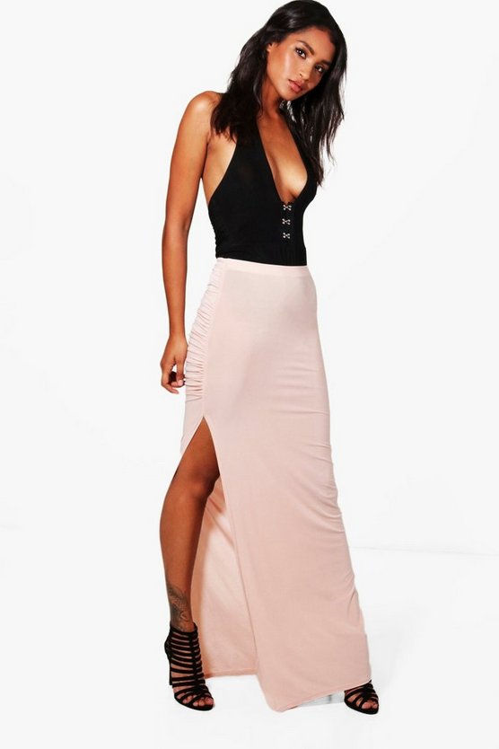 Katie Thigh Split Ruched Maxi Skirt