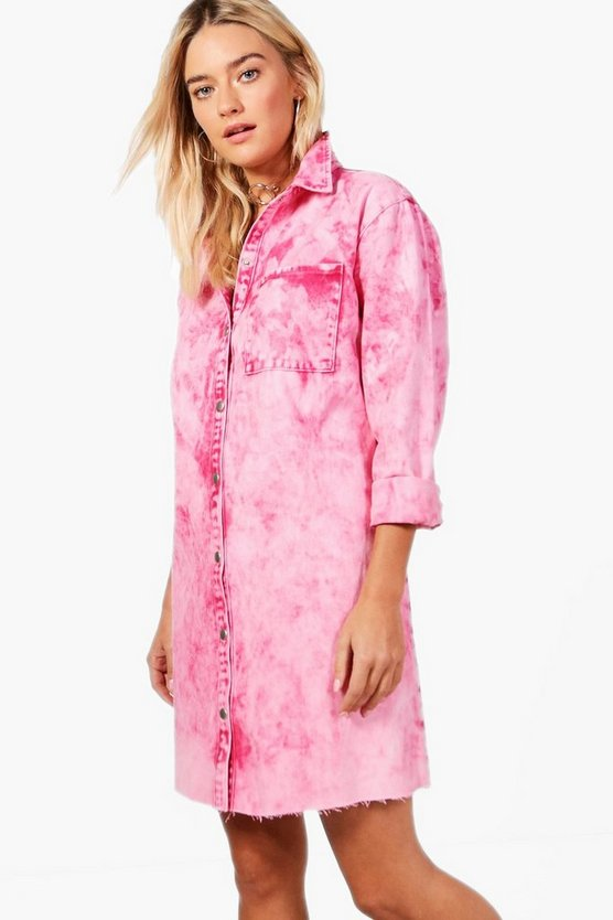 Sophia Raspberry Acid Wash Denim Shirt Dress