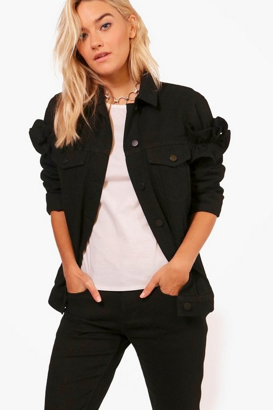 Madison Ruffle Sleeve Denim Jacket