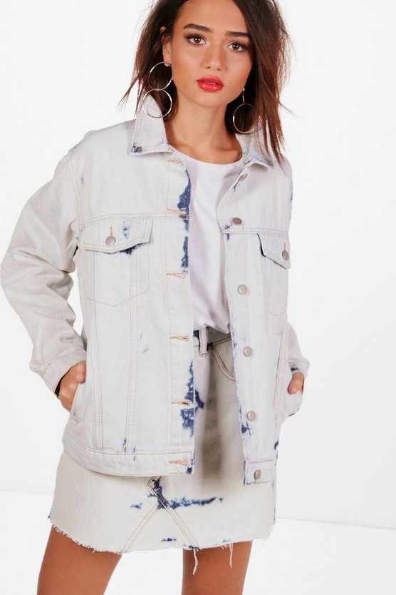 Willa Bleached Print Oversize Denim Jacket