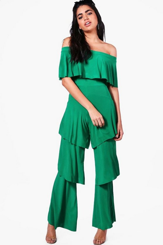 Emma Off The Shoulder Ruffle Leg Jumpsuit