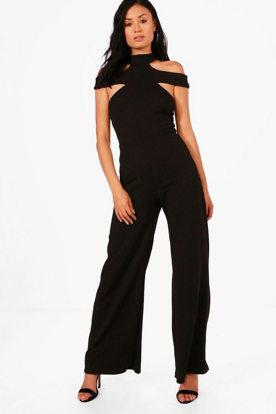 Kelly Open Shoulder Wide Leg Jumpsuit