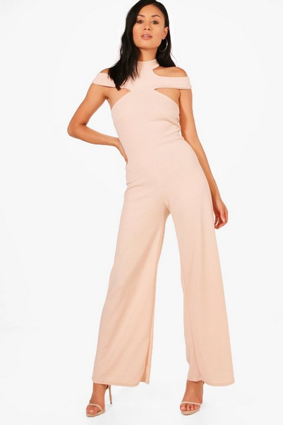 Open Shoulder Wide Leg Jumpsuit